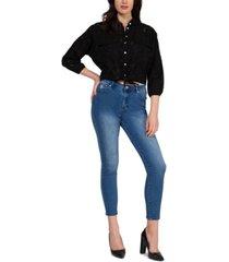 black tape cotton crochet tie-front blouse