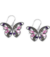 genuine swarovski marcasite & multicolor crystal butterfly drop earrings in fine silver-plate