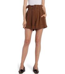 women's fendi paperbag waist washed silk crepe de chine shorts, size 12 us / 48 it - brown