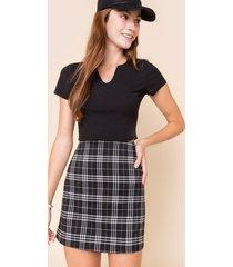 women's dyanna plaid mini skirt in black by francesca's - size: l