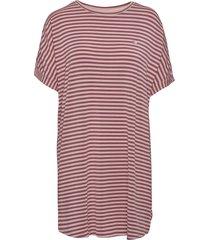 softness stripe big shirt kort klänning lila missya