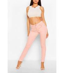 high waist stretch skinny jeans, pink