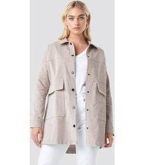na-kd corduroy overshirt jacket - beige,nude