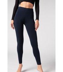 calzedonia cotton leggings woman blue size xl