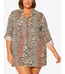 bleu by rod beattie plus size printed shirt cover-up women's swimsuit