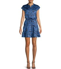 rebecca minkoff women's zebra-print mini dress - sapphire - size xxs