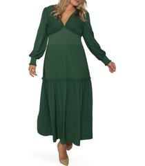 standards & practices floral smock waist long sleeve georgette maxi dress, size 2x in green at nordstrom