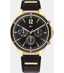 tommy hilfiger women's gold bracelet watch wi sub-dials black -