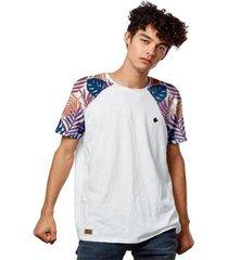 camiseta masculina raglan floral tropical color masculina - masculino