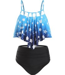 cut out star print ombre tankini swimsuit