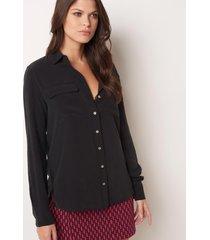 camisa le lis blanc lucia black seda preto feminina (preto, 50)