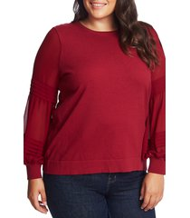 plus size women's cece mix media puff sleeve pullover