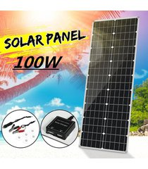 panel de 100w 18v flexible de silicio monocristalino de pet cargador solar impermeable ip65 caravan barcos dual usb + dc + conector de clip, coche rv techo de barco de acampar al aire libre - blanco antiguo