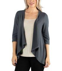 24seven comfort apparel elbow length sleeve open cardigan