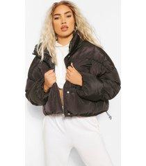 korte gewatteerde jas met hoge hals, black