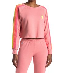 women's aviator nation bolt crop sweatshirt, size large - pink