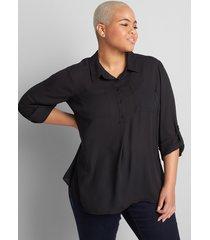 lane bryant women's no-peek button-front popover camp shirt 34/36 black