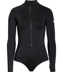 women's nike long sleeve one-piece rashguard, size xx-large - black