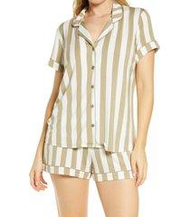 women's nordstrom lingerie moonlight short pajamas, size small - green
