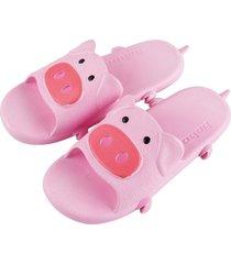 cerdo zapatillas ultraligeras suave antideslizante eva suela plana pantuflas casual