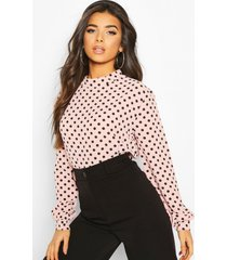 polka dot high neck blouse, blush