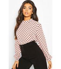blouse met hoge hals en stippen, blush