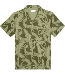 men's onia men's palm print short sleeve stretch chambray button-up camp shirt, size xx-large - green