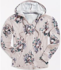 maurices womens purple floral waffle knit hoodie