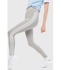leggings gris-blanco adidas originals tres franjas