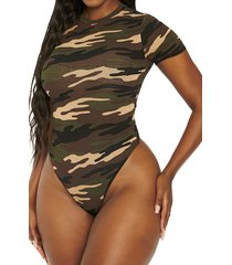 women's naked wardrobe x mama malika loving crewneck bodysuit, size small - green