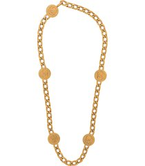 chanel pre-owned 1990s cc coin chunky necklace - gold