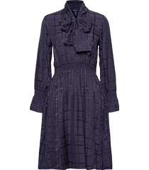d2. check structured bow dress knälång klänning blå gant