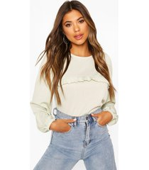 puff sleeve ruffle front top, sage
