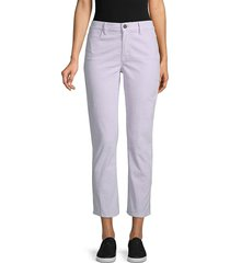 frame denim women's high-rise corduroy straight-leg ankle pants - lavender - size 29 (6-8)