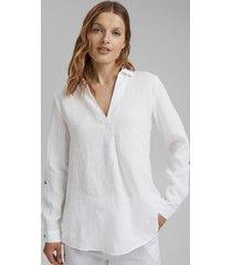 blusa camisera en lino blanco esprit