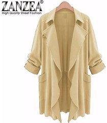 zanzea plus tamaño de mujeres solapa fina gasa larga parka cardigan escudo chaqueta del foso del nuevo amarillento tamaño m-5xl -beige