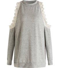 plus size cold shoulder pullover sweatshirt
