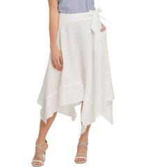 dkny belted asymmetrical-hem skirt