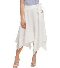 dkny belted asymmetrical-hem skirt