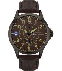 ben sherman men's brown genuine leather strap multifunction watch, 44mm