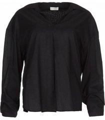 blouse met strik detail cappuccino  zwart