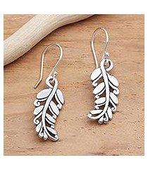 sterling silver dangle earrings, 'rice stalks' (indonesia)