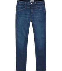cropped x dark blue jeans