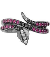 enchanted disney rhodolite garnet (3/4 ct. t.w.) & diamond (1/6 ct. t.w.) jafar villains snake ring in black rhodium-plated sterling silver
