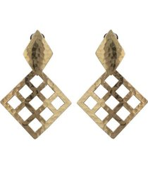 natori gold platedss grid drop clip earrings, women's natori