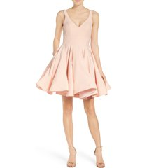 women's mac duggal fit & flare cocktail dress, size 16 - pink