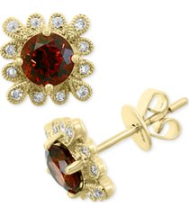 effy rhodolite garnet (1-1/3 ct. t.w.) & diamond (1/3 ct. t.w.) stud earrings in 14k gold