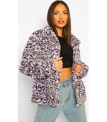 tall oversized faux fur luipaardprint tussenjas, lilac