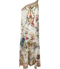 camilla one-shoulder floral kaftan dress - multicolour