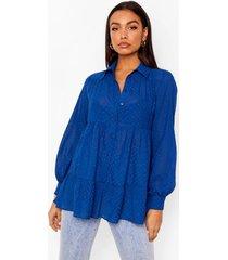 oversized dobby mesh peplum blouse met laagjes, navy